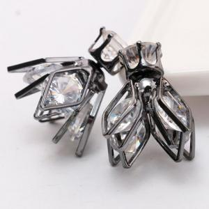 Pair of Double End Faux Zircon Flower Rhombus Stud Earrings -