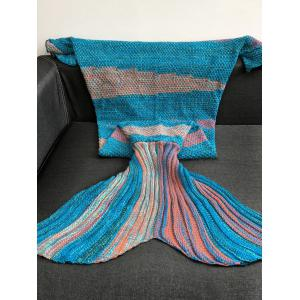High Quality Super Soft Crochet Knitted Mermaid Tail Sofa Blanket - BLUE