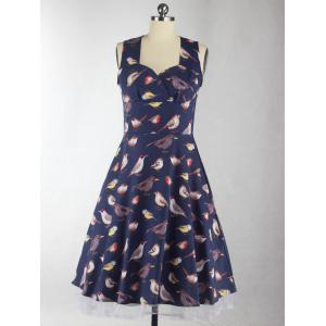 Sleeveless Birdie Print Cocktail Dress -