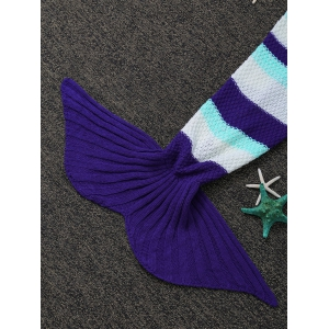 Fashionable Color Block Crochet Knitted Mermaid Tail Blanket - COLORMIX