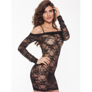 Alluring Women's Off-The-Shoulder Lace Babydoll -