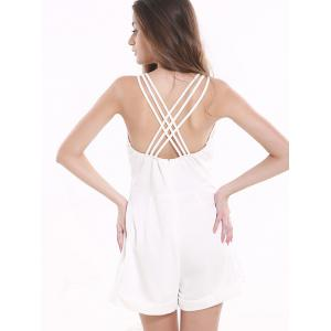 Tribal Pattern Hollow Out Backless Romper - WHITE 2XL