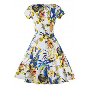 V Neck Floral Print Fit and Flare Cocktail Dress - COLORMIX 2XL
