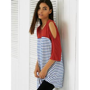 Casual Cold Shoulder Striped Long Blouse - BRICK RED S