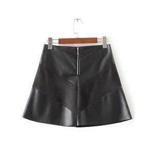 High-Waisted Faux Leather Mini Zippered Skirt - BLACK XL