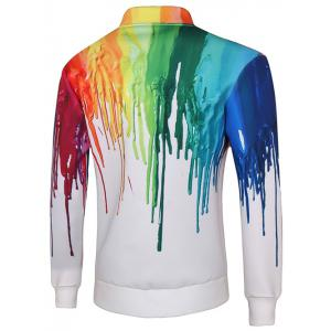 Snap Button Up Multicolor Print Long Sleeve Jacket For Men -
