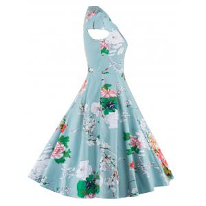Retro Floral Print Ruffled Dress For Women -