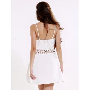 Mini Backless Laciness Cocktail Slip Dress - WHITE 3XL