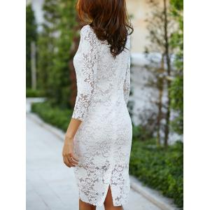 Lace Cut Out Off The Shoulder Fitted Knee Length Wedding Dress With Sleeves - WHITE S