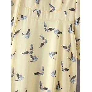Refreshing Scoop Neck Bird Print Women's Dress -