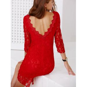 Chic Round Collar 3/4 Sleeve Cut Out Women's Lace Dress -