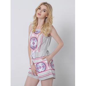 Ethnic Style Tribal Pattern Backless Romper -