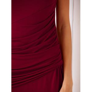 Chic Cowl Neck Sleeveless Pure Color Slimming Ruched Women's Dress - WINE RED S
