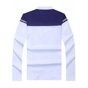 Trendy Color Blocks Stand Collar Long Sleeve Tee For Men - WHITE 3XL