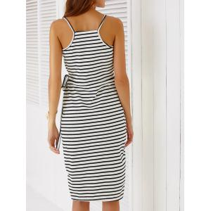 Chic Spaghetti Strap Striped Self-Tie Dovetail Dress For Women -