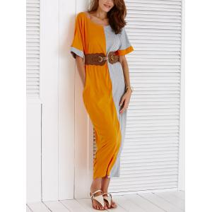 Half Sleeve Color Block Loose Dress with Pockets -