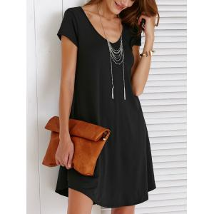 V-Neck Loose Casual Dress Outfit With Sleeves - BLACK XL