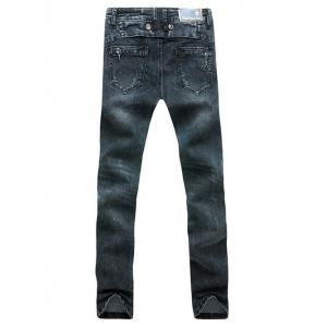 Stars Striped Patch Zipper Embellished Scratched Straight Leg Jeans For Men -