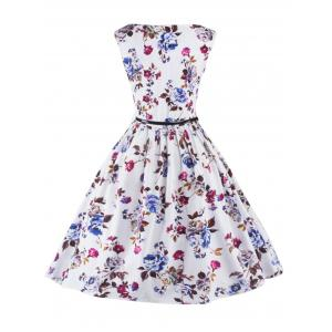 Graceful Sleeveless Floral Vintage Prom Flare Tea Dress For Women - WHITE 2XL