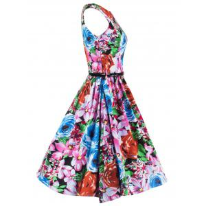 Elegant Sleeveless Floral Flare Dress For Women -