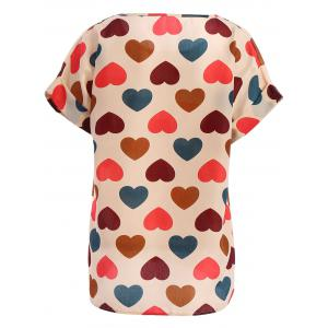 Stylish Plus Size Scoop Neck Colorful Heart Pattern Blouse For Women - BEIGE 2XL