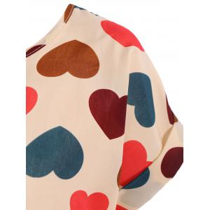 Stylish Plus Size Scoop Neck Colorful Heart Pattern Blouse For Women -