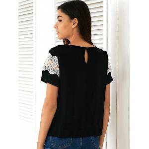 Casual Round Neck Short Sleeve Loose-Fitting  Lace T-Shirt -
