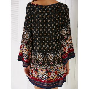 Ethnic Style Bell Sleeve Tribal Print Women's Shift Dress -