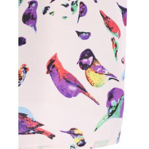 Casual Simple Plus Size Scoop Neck Bird Pattern Blouse For Women -
