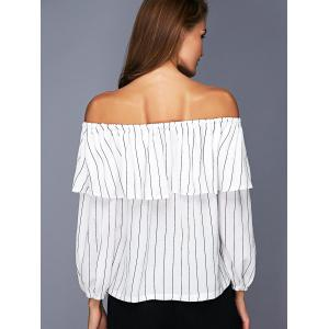 Trendy Off The Shoulder Flounce Striped Women's Blouse -