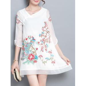 Skew Neck Embroidery Plate Button Dress - WHITE L