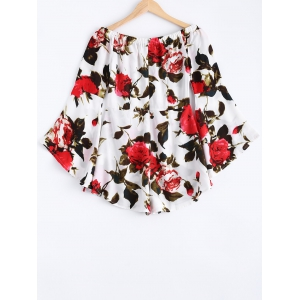 Superbe Off The Shoulder Rose imprimé floral manches cloche Romper -