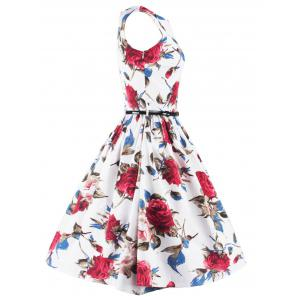 Stunning Sleeveless Floral Belted Cocktail Dress -