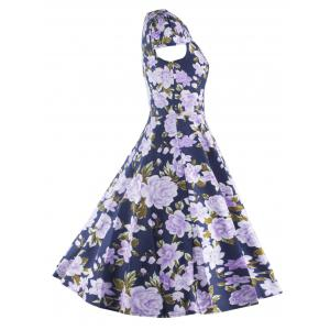 Retro Hollow Out Floral Dress For Women -