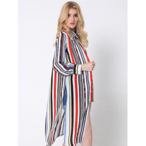 Flowing Colorful Striped High Slit Shirt - RED L