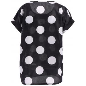 Casual Plus Size Scoop Neck Polka Dot Pattern Short Sleeves Blouse For Women - BLACK 2XL