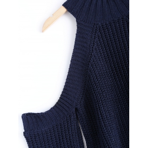 Cold Shoulder Turtle Neck Pure Color Sweater - DEEP BLUE ONE SIZE
