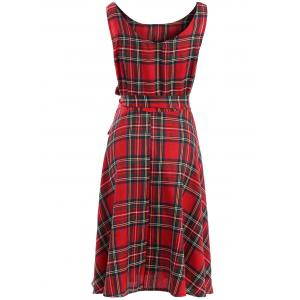 Vintage Jewel Neck Sleeveless Plaid Belted Flared Dress For Women - RED XL