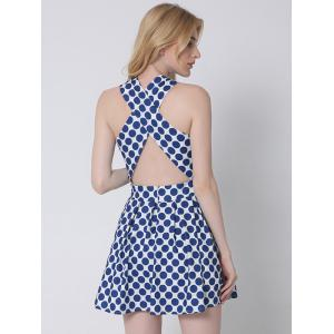 Crossover Cut Out Polka Dot Dress -