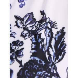 Retro Style Jewel Neck Sleeveless Floral Print Belted Flared Dress For Women -