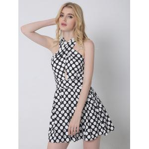 Cross Back Polka Dot Skater Cocktail Dress - BLACK S
