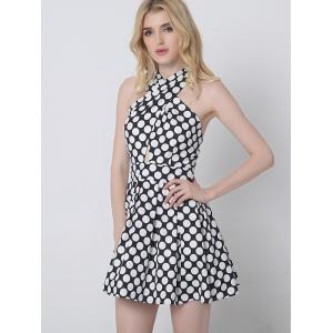 Crossover Cut Out Polka Dot Dress - BLACK S