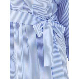 Trendy Skew Collar Striped Button Design Women's Dress -