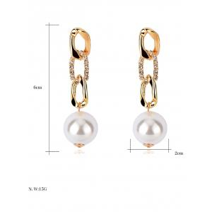 Delicate Rhinestoned Faux Pearl Earrings -