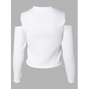 Charming Cut Out Ribbed Slimming Women's Knitwear - WHITE XL