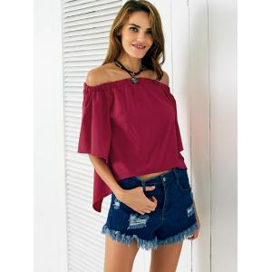 Chic Off The Shoulder Asymmetrical Women's Blouse -