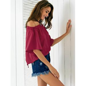 Chic Off The Shoulder Asymmetrical Women's Blouse - WINE RED M