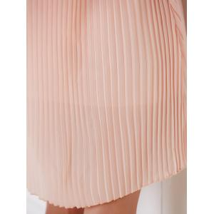 Spaghetti Strap Solid Color Pleated Dress For Women -