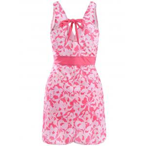 Sweet V-Neck Floral Print Empire Waist Tankini For Women -