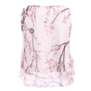 Casual Scoop Neck Peach Blossom Print Tank Top For Women -